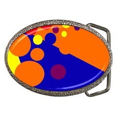 Blue And Orange Dots Belt Buckles by Valentinaart