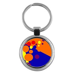 Blue And Orange Dots Key Chains (round)  by Valentinaart