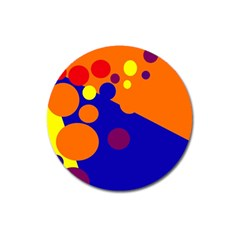 Blue And Orange Dots Magnet 3  (round) by Valentinaart