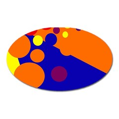 Blue And Orange Dots Oval Magnet by Valentinaart