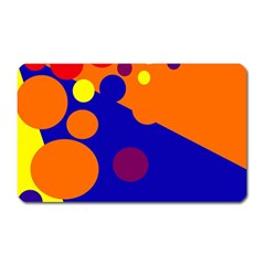 Blue And Orange Dots Magnet (rectangular) by Valentinaart