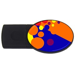 Blue And Orange Dots Usb Flash Drive Oval (2 Gb)  by Valentinaart