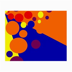 Blue And Orange Dots Small Glasses Cloth by Valentinaart