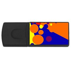 Blue And Orange Dots Usb Flash Drive Rectangular (4 Gb)  by Valentinaart