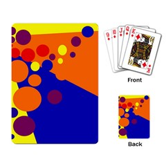 Blue And Orange Dots Playing Card by Valentinaart