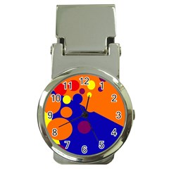 Blue And Orange Dots Money Clip Watches by Valentinaart