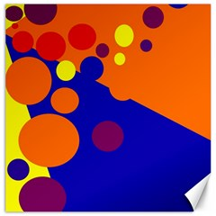 Blue And Orange Dots Canvas 12  X 12   by Valentinaart