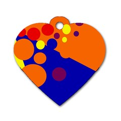 Blue And Orange Dots Dog Tag Heart (two Sides) by Valentinaart