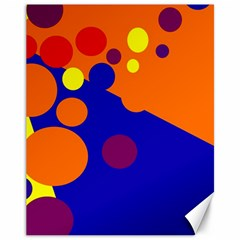 Blue And Orange Dots Canvas 11  X 14   by Valentinaart