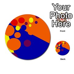 Blue And Orange Dots Multi Purpose Cards (round)  by Valentinaart