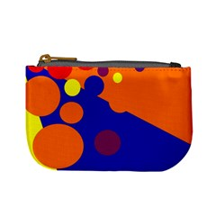 Blue And Orange Dots Mini Coin Purses by Valentinaart