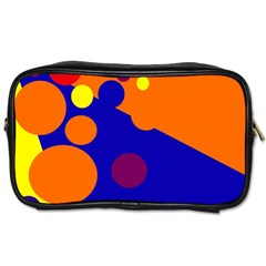 Blue And Orange Dots Toiletries Bags by Valentinaart