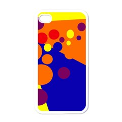 Blue And Orange Dots Apple Iphone 4 Case (white) by Valentinaart