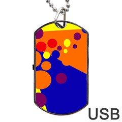 Blue And Orange Dots Dog Tag Usb Flash (two Sides)  by Valentinaart
