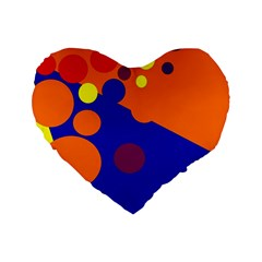 Blue And Orange Dots Standard 16  Premium Heart Shape Cushions by Valentinaart