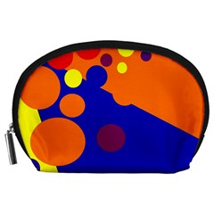 Blue And Orange Dots Accessory Pouches (large)  by Valentinaart