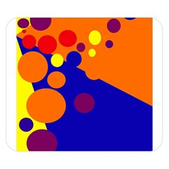 Blue And Orange Dots Double Sided Flano Blanket (small)  by Valentinaart