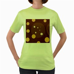 Brown Abstract Design Women s Green T Shirt by Valentinaart
