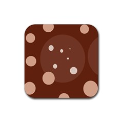 Brown Abstract Design Rubber Coaster (square)  by Valentinaart