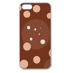Brown Abstract Design Apple Seamless Iphone 5 Case (clear) by Valentinaart