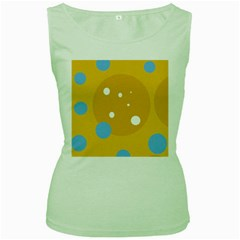 Blue And Yellow Moon Women s Green Tank Top by Valentinaart