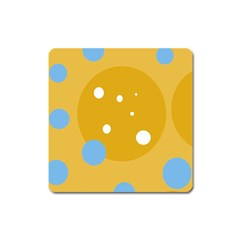 Blue And Yellow Moon Square Magnet by Valentinaart
