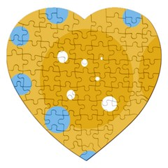 Blue And Yellow Moon Jigsaw Puzzle (heart) by Valentinaart