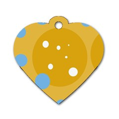 Blue And Yellow Moon Dog Tag Heart (one Side) by Valentinaart
