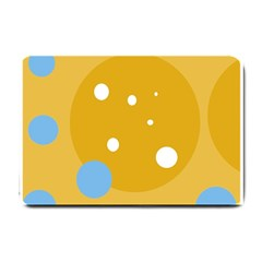 Blue And Yellow Moon Small Doormat  by Valentinaart