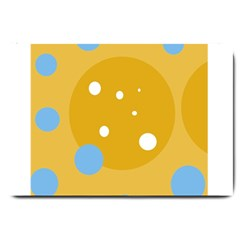 Blue And Yellow Moon Large Doormat  by Valentinaart