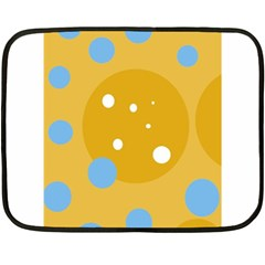 Blue And Yellow Moon Double Sided Fleece Blanket (mini)  by Valentinaart