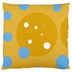 Blue And Yellow Moon Large Flano Cushion Case (two Sides) by Valentinaart