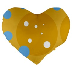 Blue And Yellow Moon Large 19  Premium Flano Heart Shape Cushions by Valentinaart