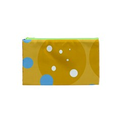 Blue And Yellow Moon Cosmetic Bag (xs) by Valentinaart
