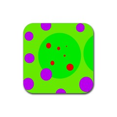 Green And Purple Dots Rubber Coaster (square)  by Valentinaart
