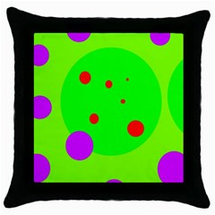 Green And Purple Dots Throw Pillow Case (black) by Valentinaart
