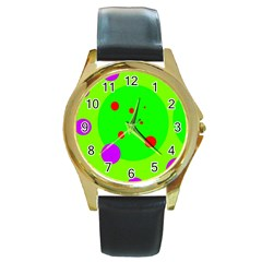 Green And Purple Dots Round Gold Metal Watch by Valentinaart