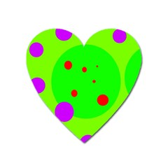 Green And Purple Dots Heart Magnet by Valentinaart