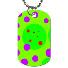 Green And Purple Dots Dog Tag (one Side) by Valentinaart