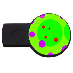 Green And Purple Dots Usb Flash Drive Round (2 Gb)  by Valentinaart