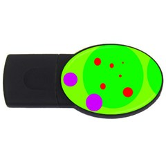 Green And Purple Dots Usb Flash Drive Oval (2 Gb)  by Valentinaart