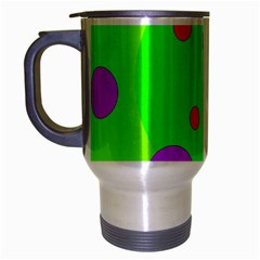 Green And Purple Dots Travel Mug (silver Gray) by Valentinaart
