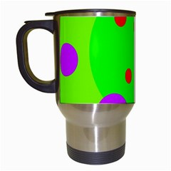 Green And Purple Dots Travel Mugs (white) by Valentinaart