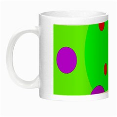 Green And Purple Dots Night Luminous Mugs by Valentinaart