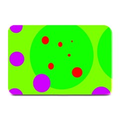 Green And Purple Dots Plate Mats by Valentinaart