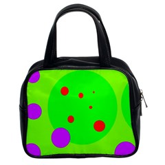 Green And Purple Dots Classic Handbags (2 Sides) by Valentinaart