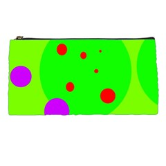 Green And Purple Dots Pencil Cases by Valentinaart