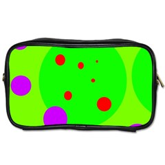Green And Purple Dots Toiletries Bags 2 Side by Valentinaart
