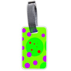 Green And Purple Dots Luggage Tags (two Sides) by Valentinaart