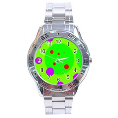 Green And Purple Dots Stainless Steel Analogue Watch by Valentinaart